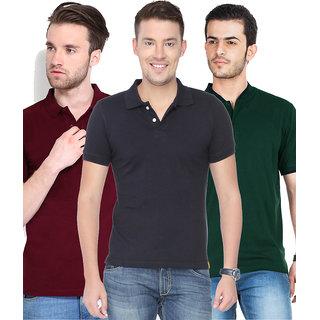 1429d139f17ea9 Buy KETEX Mens Multicolor Half Sleeve Polo Pack of 3 Tshirt Online - Get  31% Off