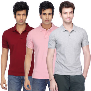 Ketex Men Multicolor Half Sleeve Polo Collar Pack of 3 Tshirt