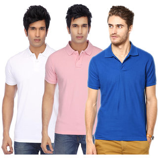 KETEX Mens Multicolor Half Sleeve Polo Pack of 3 Tshirt