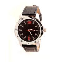 Wonder Black Dial Round Shape Leather Belt Analog Watch