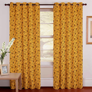 Gharshingar Primium Yellow Abstract Polyester Set of 2 Curtains