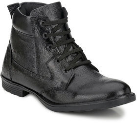 Mactree Men Black Genuine Leather Boots