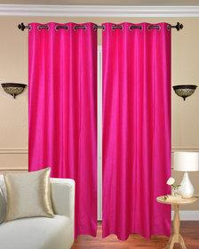 Krishan Enterprises Home Decor Dark pink Crush Plain Polyester Door Curtain (Pack of 2) (4x7 ft)