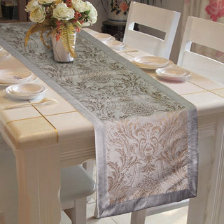 Lushomes Warm Silver Pattern 4 Jacquard Table Runner with High Quality Polyester Border (Size: 16 x72 ) single piece