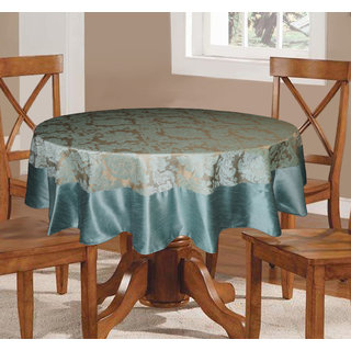 Lushomes Blue Pattern 5 Jacquard 6 Seater Round Table Cloth With High  Quality Polyester Border (