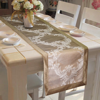 Lushomes Silver Pattern 1 Jacquard Table Runner with High Quality Polyester Border (Size: 16 x72 ) single piece