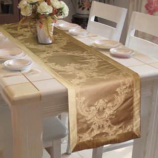 Lushomes Gold Pattern 1 Jacquard Table Runner with High Quality Polyester Border (Size: 16 x72 ) single piece