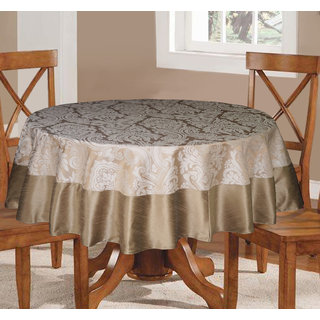 Lushomes Silver Pattern 3 Jacquard 6 Seater Round Table Cloth with High Quality Polyester Border (Size: 72