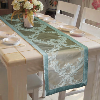 Lushomes Blue Pattern 1 Jacquard Table Runner with High Quality Polyester Border (Size: 16 x72 ) single piece