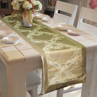 Lushomes Natural Pattern 1 Jacquard Table Runner with High Quality Polyester Border (Size 16x72), single piece