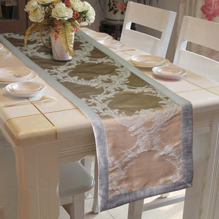 Lushomes Warm Silver Pattern 1 Jacquard Table Runner with High Quality Polyester Border (Size: 16 x72 ) single piece