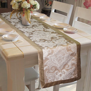 Lushomes Silver Pattern 2 Jacquard Table Runner with High Quality Polyester Border (Size: 16