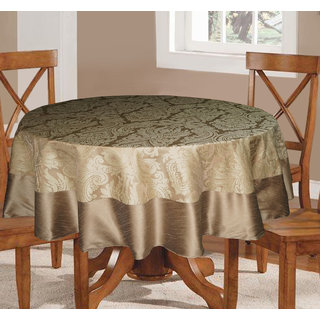 Lushomes Natural Pattern 3 Jacquard 6 Seater Round Table Cloth with High Quality Polyester Border (Size 72 Round), single piece
