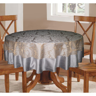 Lushomes Warm Silver Pattern 3 Jacquard 6 Seater Round Table Cloth with High Quality Polyester Border (Size: 72
