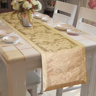 Lushomes Gold Pattern 2 Jacquard Table Runner with High Quality Polyester Border (Size: 16 x72 ) single piece