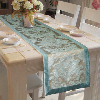 Lushomes Blue Pattern 2 Jacquard Table Runner with High Quality Polyester Border (Size: 16 x72 ) single piece