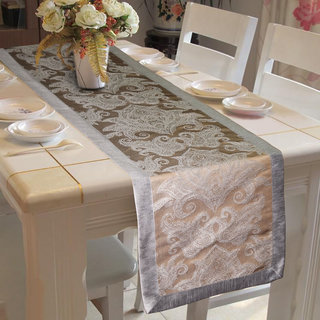 Lushomes Warm Silver Pattern 2 Jacquard Table Runner with High Quality Polyester Border (Size: 16 x72 ) single piece