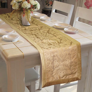 Lushomes Gold Pattern 3 Jacquard Table Runner with High Quality Polyester Border (Size: 16 x72 ) single piece