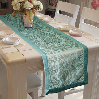 Lushomes Blue Pattern 3 Jacquard Table Runner with High Quality Polyester Border (Size: 16 x72 ) single piece
