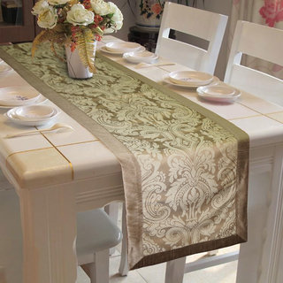 Lushomes Natural Pattern 3 Jacquard Table Runner with High Quality Polyester Border (Size 16x72), single piece
