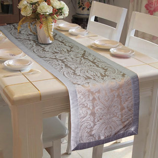 Lushomes Warm Pattern 3 Silver Jacquard Table Runner with High Quality Polyester Border (Size: 16 x72 ) single piece