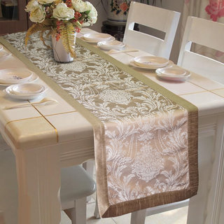 Lushomes Silver Pattern 4 Jacquard Table Runner with High Quality Polyester Border (Size: 16 x72 ) single piece