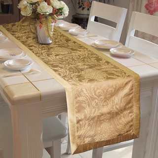 Lushomes Gold Pattern 4 Jacquard Table Runner with High Quality Polyester Border (Size: 16 x72 ) single piece