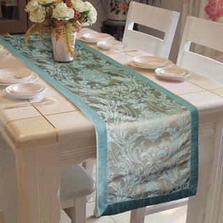 Lushomes Blue Pattern 4 Jacquard Table Runner with High Quality Polyester Border (Size 16x72) single piece