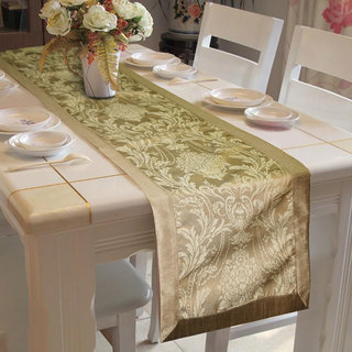 Lushomes Natural Pattern 4 Jacquard Table Runner with High Quality Polyester Border (Size 16x72) single piece