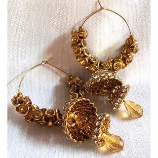 Golden Brown Stone Double Jhumki Earring