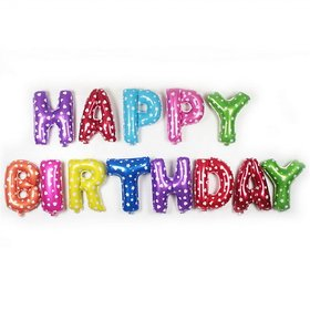 Multicolor Happy Birthday Letter Foil Balloon 13words, 16inches Party Balloons