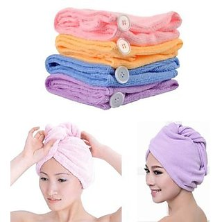 Microfiber Hair Wraps Magic Fast Dry Towel Cap Bath Head Wrap 1 pc ( Color May Very )