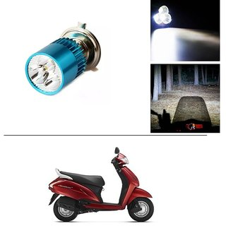 AutoStark Bike H4 3LED Bright Light Bulb White For Honda Activa
