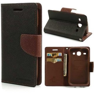 TBZ Diary Flip Cover Case for XiaoRed4a -Black-Brown