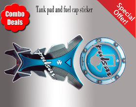 COMBO Bajaj Pulsar Blue Customize Vinyl Tank Pad  fuel cap Sticker