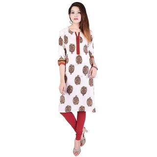 Vihaan Impex white ethnic designer printed cotton kurti for women kurta
