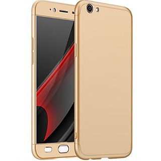 Brand Fuson 360 Degree Full Body Protection Front Back Cover (iPaky Style) with Tempered Glass for OPPO F3 Plus (Gold)