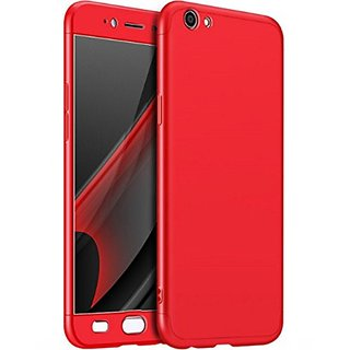 Brand Fuson 360 Degree Full Body Protection Front Back Cover (iPaky Style) with Tempered Glass for OPPO F3 Plus (Red)