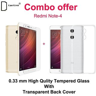 Redmi Note 4 Tempered Glass With Transparent Cover