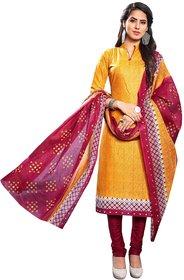 Jevi Prints Women's Unstitched Cotton Gold & Maroon Geometric Printed Punjabi Suit Dupatta