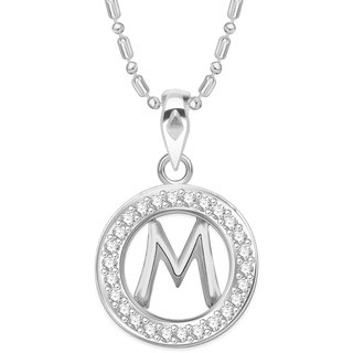 Vidhi Jewels Rhodium Plated New Arrival Initial M Alphabet Alloy  Brass Pendant for Women  Girls VAP216R