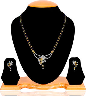Navya Collections Alloy Gold Plating American diamonds Studded Silver Coloured Mangalsutra Set