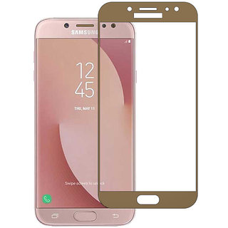 Stuffcool Mighty 2.5D Full Screen Tempered Glass Screen Protector for Samsung Galaxy J7 Pro - Gold (Case Friendly)