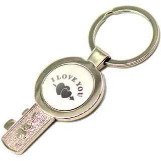 Faynci I love You double Heart High Quality Guitar Key Chain for Gifting