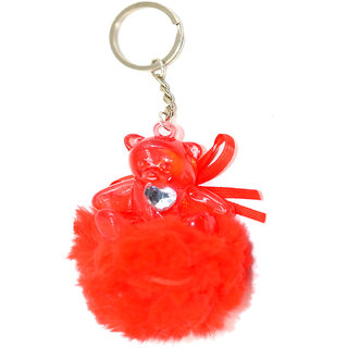 Faynci Love Red Cute Doll Key Chain with Silver  Heart Shape for Fashion