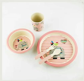 Yookidoo kids tableware set of 5 pcs, Elephant theme