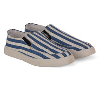 FOAX WHITE N BLUE STRIP CASUAL SLIP ON SHOES 1704