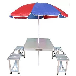 Buy Kudos Aluminum Foldable Picnic Table With Umbrella Metal - Picnic table finish