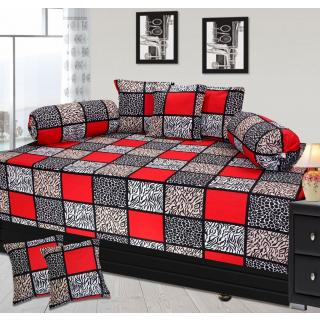 angel homes New Multicolor branded At Lowest price Heavy 100 Premium Rotory Cottons Diwan Set of 8 (1 bedsheet+2Bolster cover +5 Cushion cover)CCDWROTY010