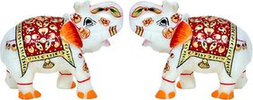 Handmade Handicraft Marble Elephant Pair Only for Home Décor  2 Inch each  By Fashion Bizz